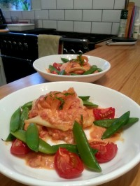 open saffron lasagne with king prawns