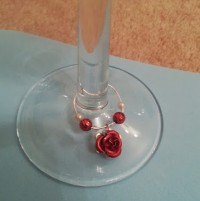 rose wine glass charm