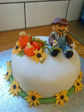 Harvest Scarecrow Cake